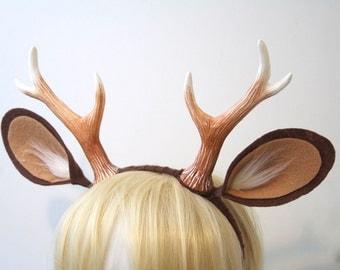 "Faun 6"" Antlers and Ears Headband / Medium Tan / Deer Costume / Resin Cast - Ready to Ship"