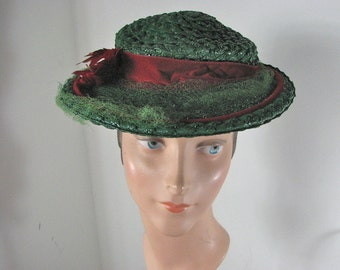 1930/40s Green Straw Hat with Red Ribbon &  Feather Details.....  Evelyn Varon  ADJUSTABLE size