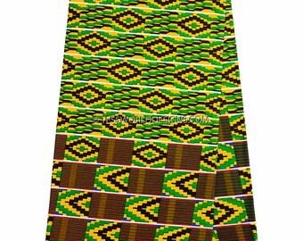 Kente fabric / green, yellow / Kente cloth / African fabric/ Kente print / Kente Cloth Stole / Kente Sash / Kente/Sold by the yard  KF253B