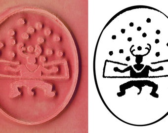 Petroglyph Shaman Ritual Design Stamp Tool for PMC Ceramic Clay ScrapBooking & Textiles - Southwest Rock Art Shaman Figure Rubber Stamp