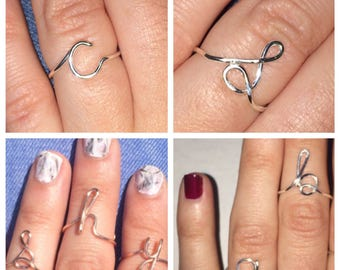 Initial Wire Ring, Custom Letter Ring, Adjustable, More Finishes