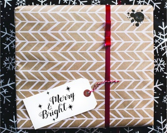 Merry and Bright SVG Cut File, PNG, DXF