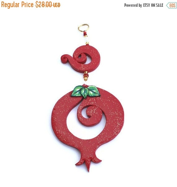 SALE 20% OFF - Wall decor red Pomegranate, prosperity symbol, Polymer clay Pomegranate, pomegranate in red, rosh hashanah gift