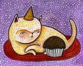 Cupcake Cat Card - Cat Card - Birthday Card - A7 Greeting Card