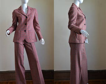 1970s Pendleton Wool Pant Suit with High Waist Wide Legged Trousers & Tailored Jacket