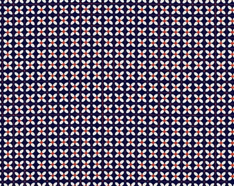 Cotton + Steel Wee Flowers Kim Kight Penny Yours Truly Fabric Navy Red Floral Cotton Modern Quilting Fabric Modern Fabric