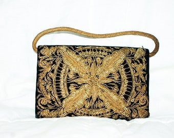 1920's Small Gold thread & Black Velvet Evening Bag