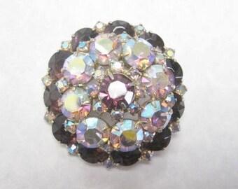 Brilliant Aurora Borealis  & Purple Rhinestone Domed Puffball Brooch