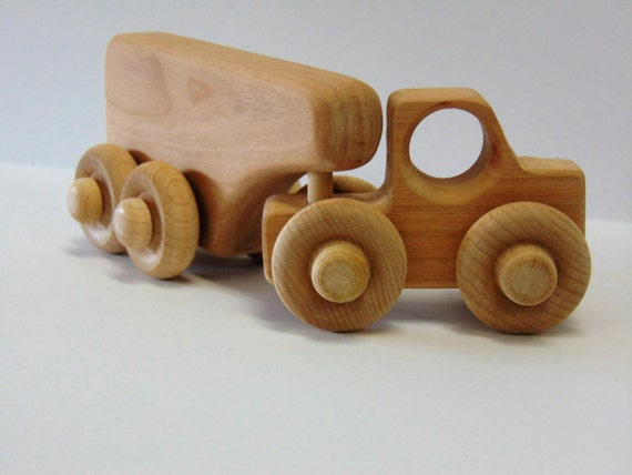 Natural Wood Toy Truck with Horse Trailor