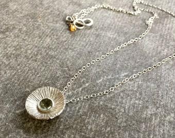 Silver Moon Flower Necklace, rose cut green quartz gemstone necklace