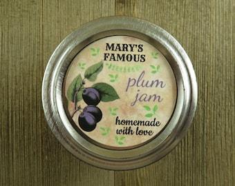 Personalized Canning - Vintage Plum Design - 20 4 Oz  Mason Jars Jars or 12 8 Oz Square Mason Jars With Custom Sticker Labels - vfc