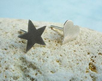 Asymmetrical stud silver earrings star and heart - simple earrings
