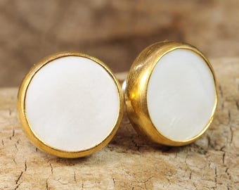 Handcrafted Artisan 24K Yellow Gold over 925 Solid Sterling Silver Natural White Mother of Pearl, Designer Handmade Stud Earrings