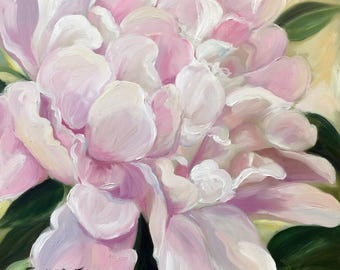CANVAS or Paper PRINT of original oil painting of pink peony flower spring floral art/ Mary Sparrow of Hanging the Moon Studio