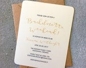 Bachelorette Weekend / Bridal Shower / Party Invitations, Invites Simple Gold