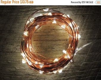 WINTER CLEARANCE SALE 100 Led 33 ft Battery Operated Fairy Lights, 10M 33 feet,  Rustic Wedding Decor, Room Decor, Copper Wire Strand Warm W