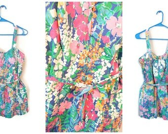 Vintage Swimsuit One Piece Ceeb of Miami Size 18 Plus Womens floral