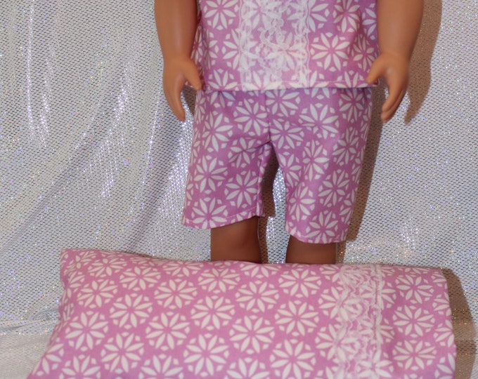 "18"" doll clothes handmade to Fit like American Girl, Spring/Summer! Pajamas, Blouse with Bow and Lace, Shorts/Matching Pillow Free Shipping"