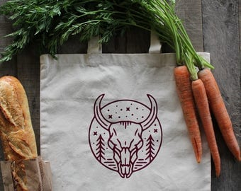 COUNTRY BULL Reusable Grocery Bag Canvas Tote