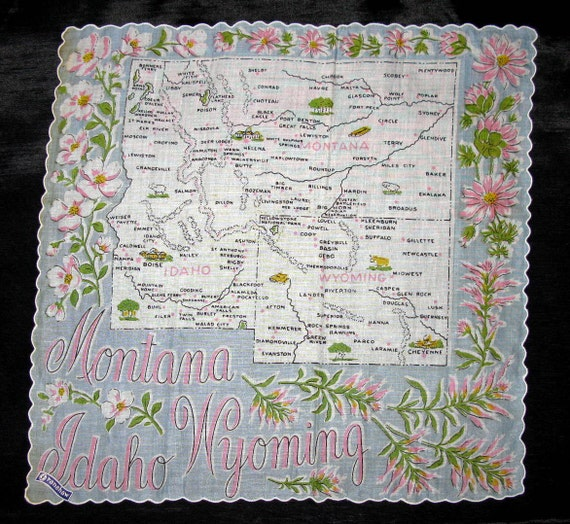 State Handkerchief Franshaw, Montana Idaho Wyoming Hankerchief Souvenir Hankies Rare Tag On