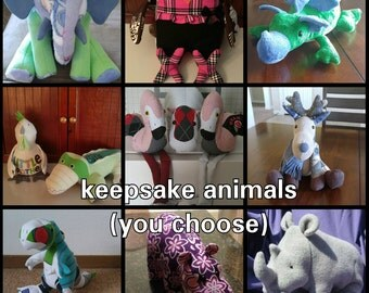 Animals Made From Clothing, Memory Animals, Sentimental Stuffed Animals, Keepsake Animals, Special Gifts, Up-Cycled Clothing, Birthday gift