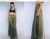 25% OFF Vtg 90s Gold Metallic Minimal Flowy Tiered Maxi Skirt Gown S M