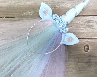 UNICORN HEADBAND w/ tulle veil, silver, baby blue, Pony, Girls Costume Accessory, Birthday, Adult, Toddler, Kids, Party Favor, Flower Crown