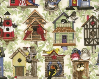 Whimsical Birdhouses with Birds - Beautiful Birds Collection - Elizabeth's Studio 4321-CREAM (sold by the 1/2 yard)