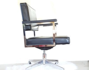 Mid Century Office Chair ~ Rolling Office Chair / Black And Chrome Cube Chair