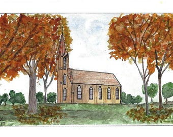 Original Pen and Ink with Watercolor Painting - Country Church Amid Fall Leaves
