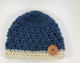 baby hat, crochet baby hat, baby boy hat, blue hat, hat with button, newborn baby hat
