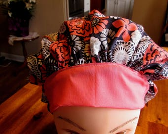 Navy and Coral Nurse Cap, Bouffant Scrub Cap,  Chemo Cap, Nurse Hat