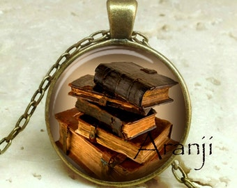 Book pendant, book necklace, book jewelry, books, library necklace, library pendant, bookshelf necklace, Pendant #HG237BR