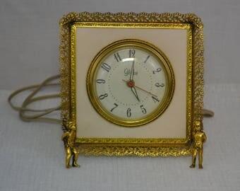Vintage Mid-Century Ornate GLOBE Electric Alarm Clock Hollywood Regency, Cherubs