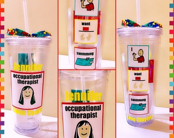 Personalized Autism Special Education Occupational Therapist Speech Therapist Tumbler Cup Glass