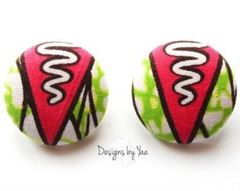 LARGE Ankara Button Earrings