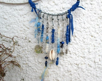 wrape wire necklace with treasures,  silk beads necklace, blue Statement Necklace, Fabric Bead Necklace, Fabric Bib Necklace, Boho Necklace