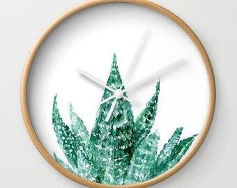 Succulent Wall Clock, modern wall clock, succulent clock, white wall clock, cactus wall clock, green wall clock, minimalist clock