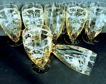 Ice Tea Glasses Heisey Sahara Yellow Bohemian Hollywood Regency Set of 6 Goblets Etch #447
