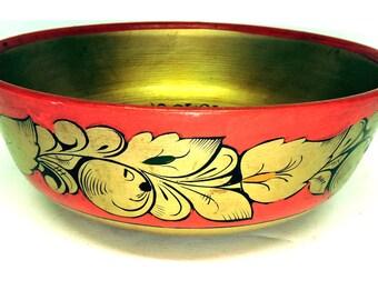 Tole Painted Wooden Bowl Decorative Painted Treen Bowl Primitive Cottage Fruit Bowl with Pazzaz