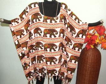 Elephant One Size Plus Size Tunic Poncho or Dress - Rows of parading elephants on fringed Indonesian cloth