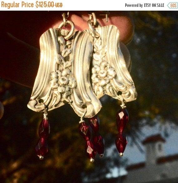 SALE 40% OFF Antique Repoussé Victorian Sterling Silver Earrings 925 Rare Art Nouveau Floral .925 Natural Garnet Gemstone Drop Dangle Eco Fr