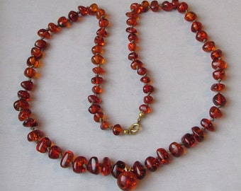 Genuine Amber Polished Nugget Vintage 1950's Hand-Knotted Necklace