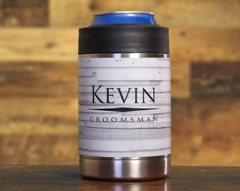 Groomsman Gift, Personalized Beverage Holders, Set of 3, White