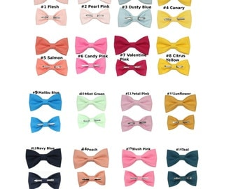 Choose 1 TODDLER 2T - 4T or BOYS Sizes Clip On Cotton Bow Tie - Choose From Many Colors 2T 3T 4T 5T Kids Boys Youth Bowtie ~ Ring Bearer