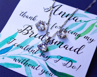CZ Jewelry Set Necklace  Earrings,  Wedding Jewelry Bridal Earrings Cubic Zirconia Bridesmaid Gift Wedding Earrings