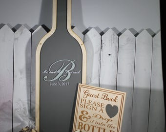 Personalized Guest Book/Engraved Guest Book/Monogram/Wine Bottle/Wood Shapes/Alternative Guest Book/Top Drop/Drop Frame/