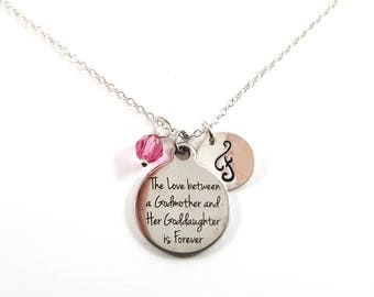 Godmother and Goddaughter Quote- Silver- Swarovski Birthstone - Personalized Initial Necklace - Sterling Silver Jewelry - Gift for Her