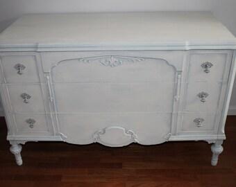 Vintage Blue/Off White Large Dresser/Changing Table