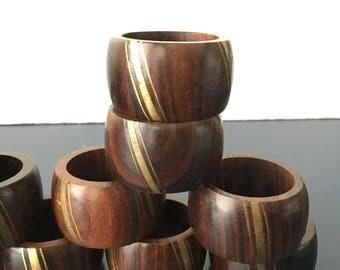 vintage napkin rings wood and inlaid brass set of 12 boho